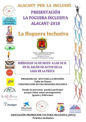 "Cartel Alacant Per La Inclusió. Presentación ""La Foguera Inclusiva Alacant-2018"""