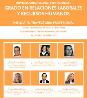 Jornada sobre eixides professionals del Grau en Relacions Laborals i Recursos Humans. Enfoca la teua trajectòria professional