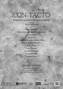 Cartel de la exposición Con tacto. Políticas y poéticas de la tocabilidad. Comisariada por Fefa Vila Núñez.